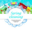 Spring cleaning service concept. Tools for cleanliness and disin Royalty Free Stock Photo