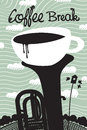 Spring coffee cup of and wind instruments Stock Photography