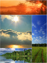 Spring collage of four landscapes Stock Images