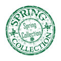 Spring collection rubber stamp green grunge with butterflies and the text written inside the Royalty Free Stock Photos