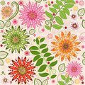 Spring colorful seamless floral pattern with vivid flowers vector Stock Images