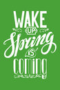 Spring is coming.Vintage lettering.Green.Vertical