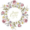 Spring composition with circle and floral romantic elements. Tulips and daffodils on white background