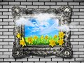 Nature concept. Abstract natural spring background with grass and narcissus in frame Royalty Free Stock Photo