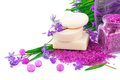 Spring concept with soap and snowdrops white violet sea salt purple Royalty Free Stock Photography