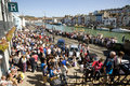 Spring crowds weymouth dorset springtime brought out by the sunshine gather on the historic quayside at Stock Photography