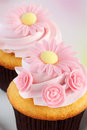 Spring cupcakes delicious vanilla treats decorated in pink flowers for the new season and mother s day Royalty Free Stock Images