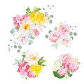 Spring delicate bouquets vector design objects