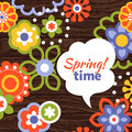Spring design cartoon floral background Royalty Free Stock Photo