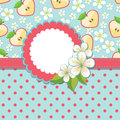 Spring Design template.Apple, flowers and polka do Stock Photos