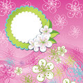 Spring design template cherry flowers and line in background or summer background or apple label with use as Stock Photo