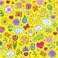 Spring doodles set. Hand draw flowers, sun, clouds, butterflies. Royalty Free Stock Photo