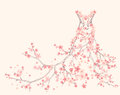 Spring dress vector season made of tender pink flower branches Stock Photo