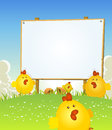 Spring easter chicken and wood sign illustration of cartoon happy cute march april jumping in the grass on a landscape background Stock Image