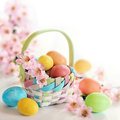 Spring easter egs and flowers in a basket colorful pink on white background Royalty Free Stock Photography