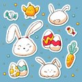 Spring Easter stickers set in doodle style. Vector hand drawn Illustration with cartoon characters. Collection of happy