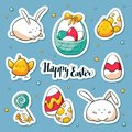 Spring Easter stickers set in doole style. Vector habd drawn Illustration. Collection of happy easter symbols: rabbit