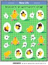 Spring or Easter visual logic puzzle with newborn chicks, eggs and eggshell fragments