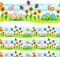 Spring elements vector seamless line Royalty Free Stock Photo