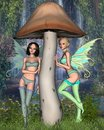 Spring Fairies with Background Royalty Free Stock Images