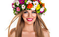 Spring fairy beautiful blond woman as Stock Image