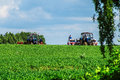 Spring farm work on the Russian fields in the Kaluga region. Royalty Free Stock Photo
