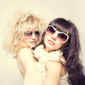 Spring Fashion portrait of a beautiful young sexy womans wearing sunglasses Royalty Free Stock Photo