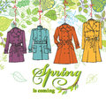 Spring  Fashion .Woman coats set.Leaves decor Royalty Free Stock Photo