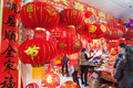 Spring festival decorations in market people buys a liuzhou china january Stock Images