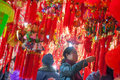 Spring festival decorations in market people buys a liuzhou china january Royalty Free Stock Photography