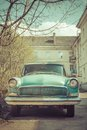 Spring fever of retro classic car color toned Royalty Free Stock Photo