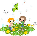 Spring field children flying seeds in the where the dandelion blooms Stock Photos