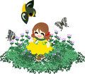 Spring field a girl who playing with a little bird and butterflies on the flower garden of henbit Royalty Free Stock Photo