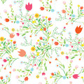 Spring floral seamless pattern with tulips and chamomile Royalty Free Stock Photography