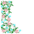 Spring flower border blue and pink on a white background illustration Stock Photos