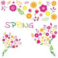 Spring flower bouquet floral decoration design set. Royalty Free Stock Photo