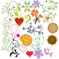 Spring flower drawing decoration set vector format also available Royalty Free Stock Images