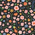 Spring flower pattern, abstract doodle flowers, hand drawn illustration, seamless vector pattern, ornamental background