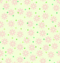 Spring flower pattern with stars. Seamless vector background