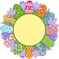 Spring flower round frame and easter eggs. Vector elements isolated. Background for design of cards to the Easter. Royalty Free Stock Photo