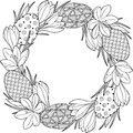 Spring flower wreath of crocuses and easter egss. Vector elements isolated. Black and white image for adult relaxation. Backgrou
