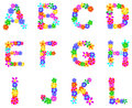 Spring flowers alphabet flower letters a l Royalty Free Stock Images