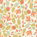 Spring flowers and berries seamless pattern vector colorful with hand drawn tulip on light beige background Stock Images
