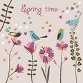 Spring flowers and birds stylized Royalty Free Stock Photography