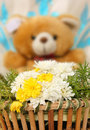 Spring flowers bouquet of yellow and white lovely bear in the background Royalty Free Stock Photography