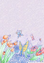 Spring flowers and butterflies hand drawn background Royalty Free Stock Photo
