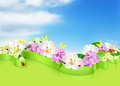 Spring flowers and clouds background Royalty Free Stock Photos