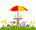 Spring flowers and drinks bed of table with umbrella isolated on white background Stock Photo