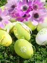 Spring flowers and Easter eggs Royalty Free Stock Image