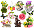 Spring flowers, easter eggs, butterfly, rabbit, bunny. easter de Royalty Free Stock Photo